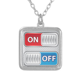On Off Switch Web style Silver Plated Necklace