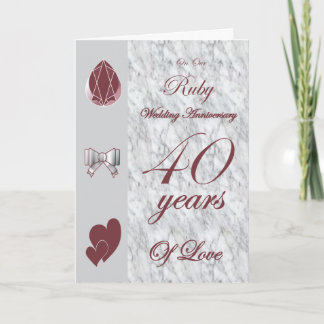 On Our Ruby Wedding Anniversary Card