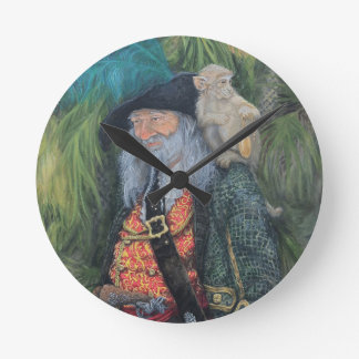 On Pirate TIme, Pirate and Monkey Thief Round Clock