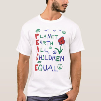On Planet Earth All Children Are Equal - Red Blue  T-Shirt