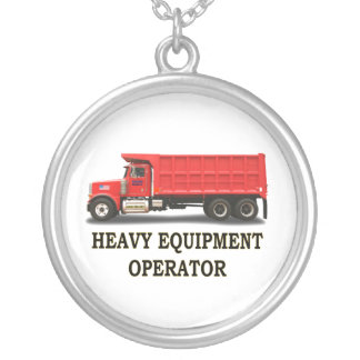 ON ROAD DUMP TRUCK ROUND PENDANT NECKLACE