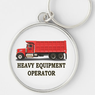 ON ROAD DUMP TRUCK Silver-Colored ROUND KEYCHAIN