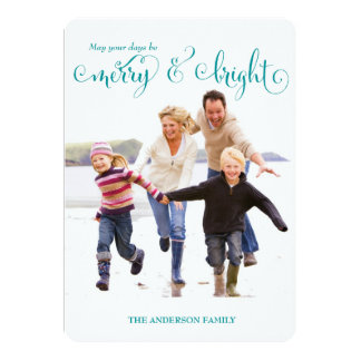 On Sale! Merry & Bright Blue Holiday Photo Card