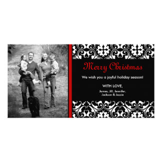 ON SALE! Red Christmas Damask Photo CARD
