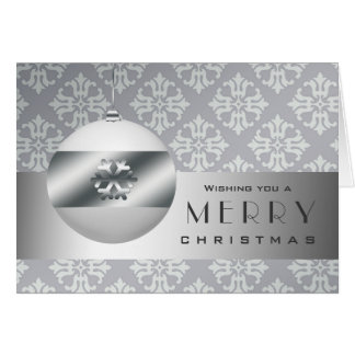 ON SALE Silver and Gray Snowflake Ornament Design Greeting Card