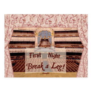 On Stage First Night, Break a Leg Postcard