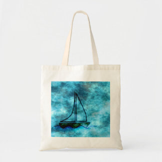 On Stormy Seas Sailboat Canvas Bags