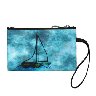 On Stormy Seas Sailboat Coin Purse