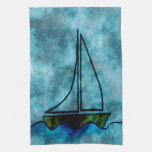 On Stormy Seas Sailboat Hand Towel