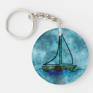 On Stormy Seas Sailboat Single-Sided Round Acrylic Keychain