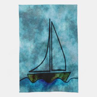 On Stormy Seas Sailboat Kitchen Towel