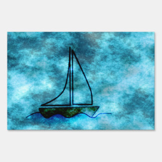 On Stormy Seas Sailboat Sign