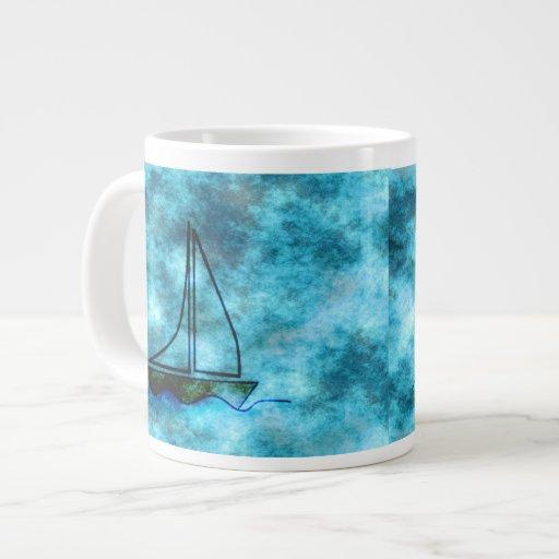 On Stormy Seas Sailboat Extra Large Mugs