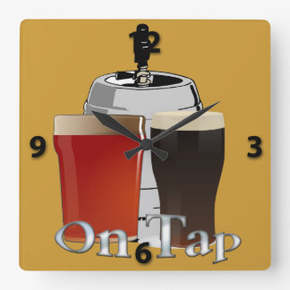On Tap - Beer / Keg Square Wall Clock