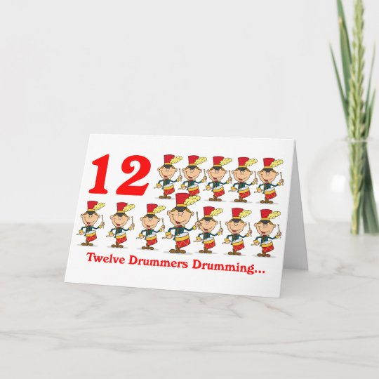 On The 12th Day Of Christmas.On The 12th Day Of Christmas Twelve Drummers Drums Holiday Card