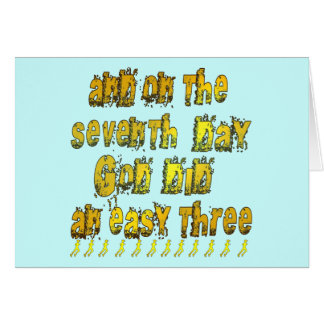 On the 7th Day God Did an Easy Three Running Humor Cards