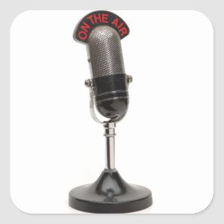 ON THE AIR Vintage Microphone Square Sticker