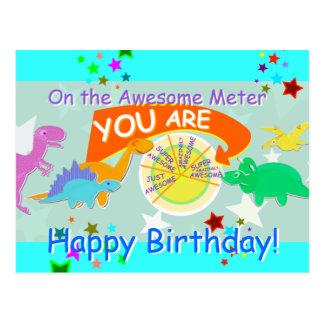 On the Awesome Meter You Cartoon Dinosaur Birthday Postcard