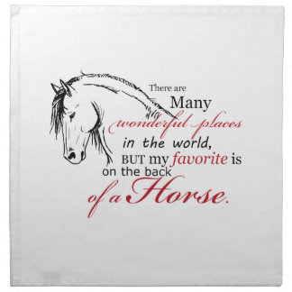 On the Back of a Horse Cloth Napkin