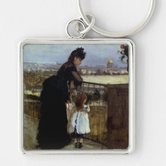 On The Balcony by Berthe Morisot Keychain