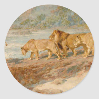On the Bank of an African River by Briton Riviere Classic Round Sticker