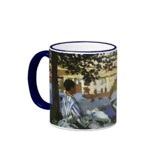 On the Bank of Seine, Monet, Vintage Impressionism Ringer Coffee Mug