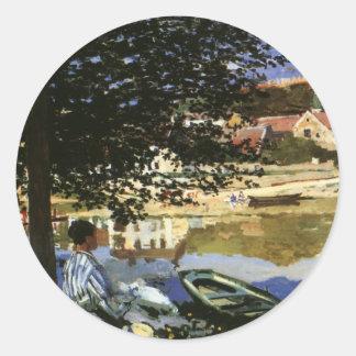 On the Bank of Seine, Monet, Vintage Impressionism Classic Round Sticker