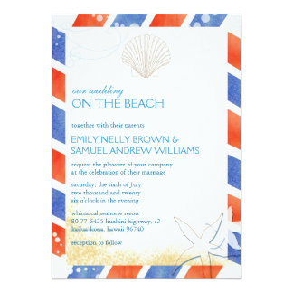 On the Beach Airmail Oceanfront Wedding Card