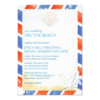 On the Beach Airmail Oceanfront Wedding Invitation