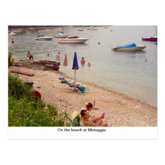 On the beach at Menaggio Postcard