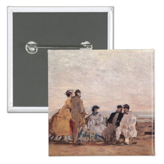 On the Beach at Trouville, c.1865 2 Inch Square Button