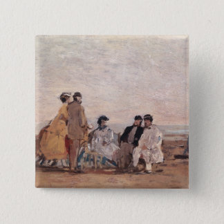 On the Beach at Trouville, c.1865 Pinback Button