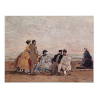 On the Beach at Trouville, c.1865 Poster