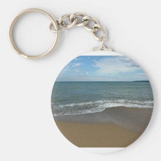 On the beach basic round button keychain