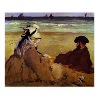 On the beach by Edouard Manet Print