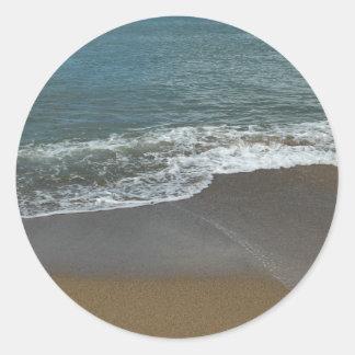 On the beach classic round sticker