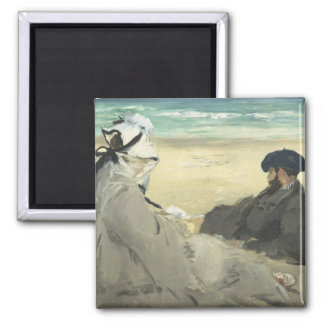 On the Beach - Edouard Manet 2 Inch Square Magnet