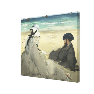 On the Beach - Edouard Manet Stretched Canvas Print