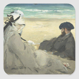 On the Beach - Edouard Manet Square Sticker