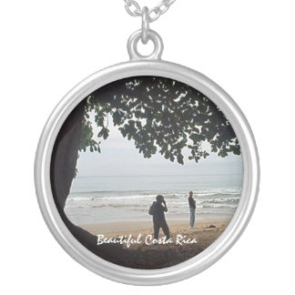 On the Beach in Costa Rica - Beautiful Cahuita Round Pendant Necklace
