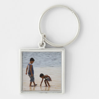 On the beach Silver-Colored square keychain
