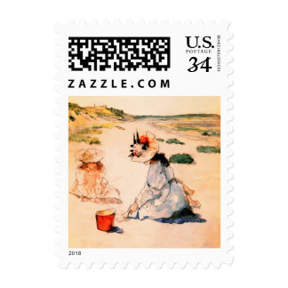 On the Beach. Mother's Day Fine Art Postage Stamps