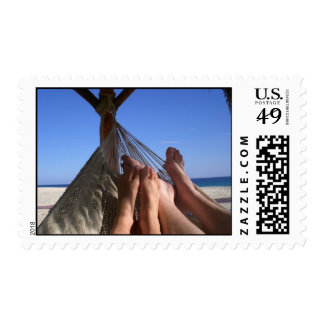 On the beach postage stamp