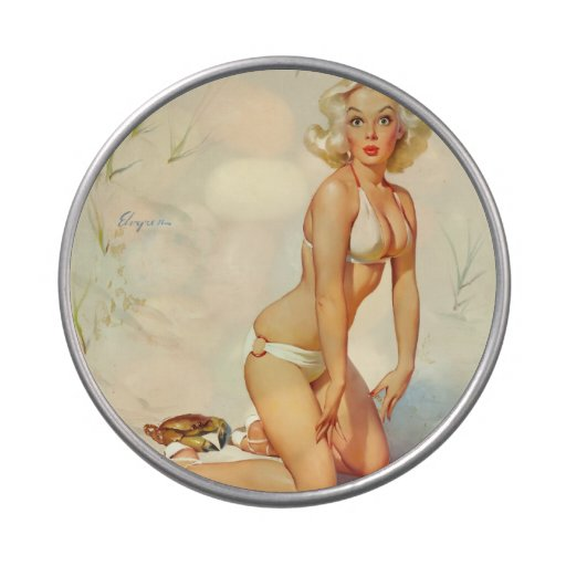 On the Beach Retro Pin-up Girl Jelly Belly Tins