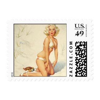 On the Beach Retro Pin-up Girl Postage Stamp