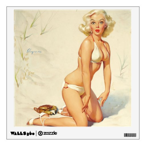 On the Beach Retro Pin-up Girl Wall Sticker