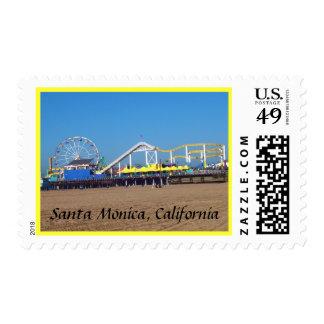 On the Beach Santa Monica, California Postage Stamp