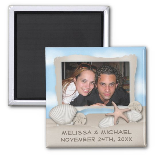 On the Beach Seashell & Photo Save the Date Magnet