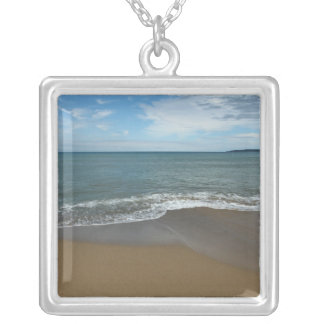 On the beach square pendant necklace