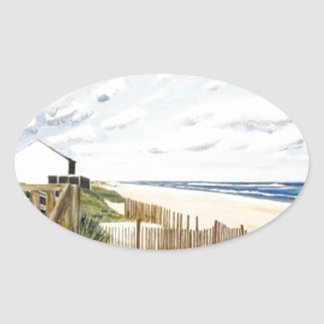 On the beach oval stickers